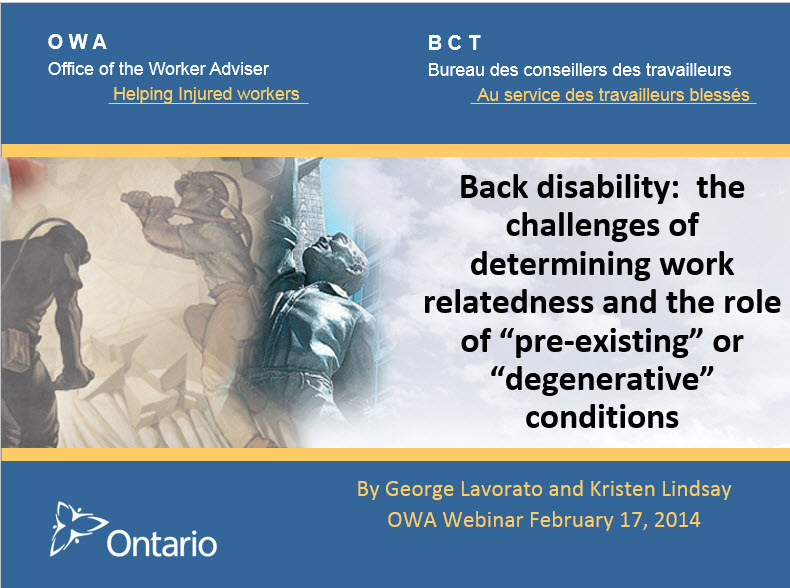 OWA presentation on back disability and pre-existing conditions